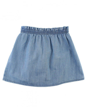 Girls Light Wash Denim Paperbag Skirt by RuffleButts