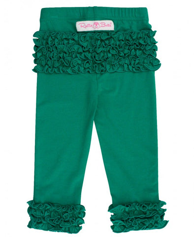 Little Girls Emerald Ruffle Leggings by RuffleButts