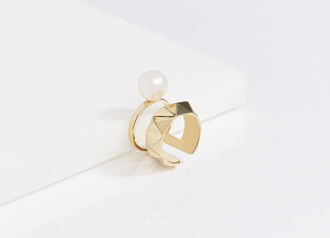 Reckon Dome Ring Vermeil (Sterling Silver w/18k Gold)