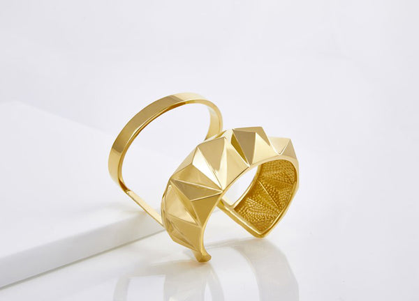 Reckon Double Band Cuff Vermeil (Sterling Silver w/18k Gold)