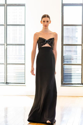 Crepe Metallic Gown