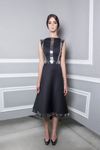 Neoprene Dress with Metal Mirror Bands