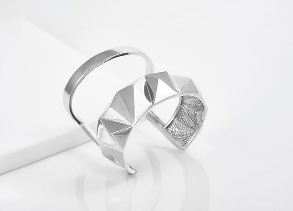 Reckon Double Band Cuff Rhodium Plated Sterling Silver