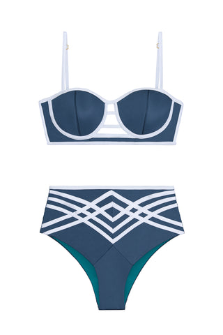 BLUE DESIREE TWO PIECE SWIMSUIT SET