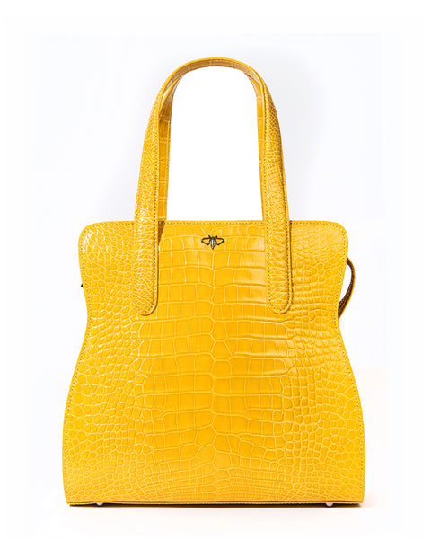 The ADAM L TOTE Genuine American Alligator - Yellow