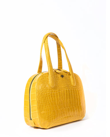 The CHARLIE L TOTE Genuine American Alligator - Yellow
