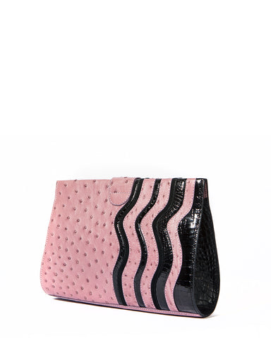 The JOEY L CLUTCH Genuine Ostrich - Lavender & Black