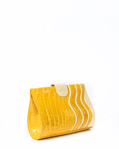 The JOEY S CLUTCH Genuine American Alligator - Yellow & Ivory