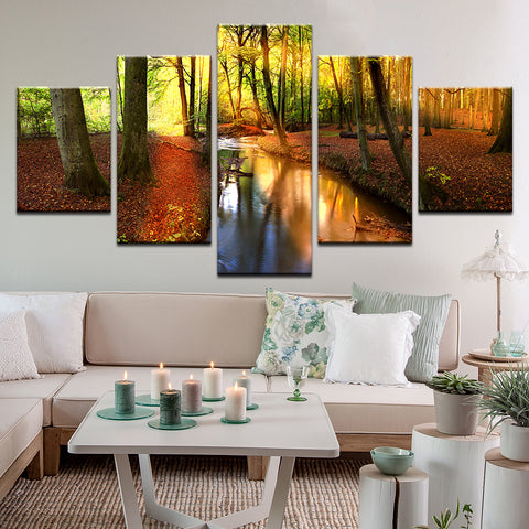 Forest Stream 5 Panel Canvas Print Wall Art