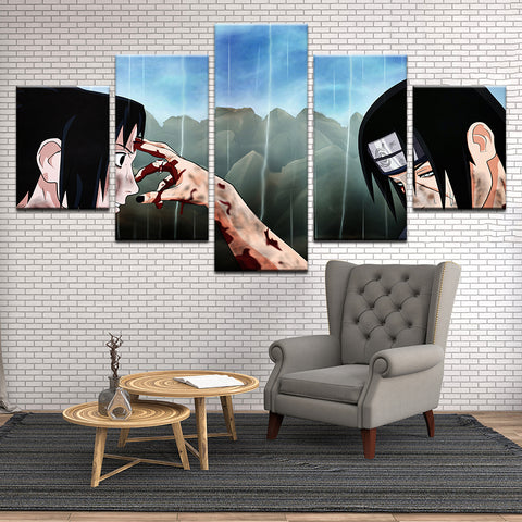 Naruto Itachi Uchiha 5 Panel Canvas Print Wall Art