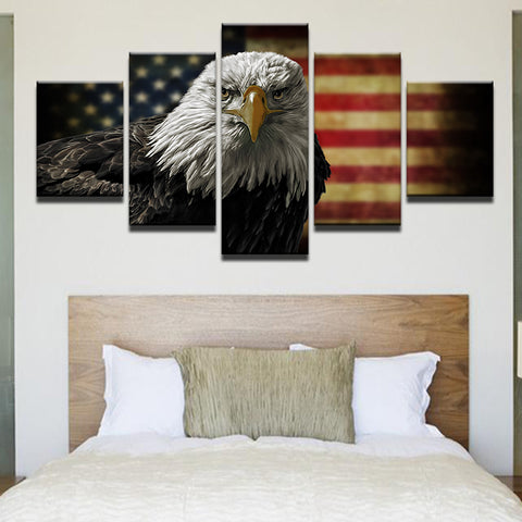 American Flag With Bald Eagle 5 Panel Canvas Print Wall Art