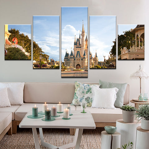 Cinderella Castle At Dawn Disney World Magic Kingdom 5 Panel Canvas Print Wall Art