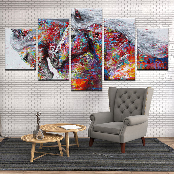 Abstract Colorful Horses 5 Panel Canvas Print Wall Art