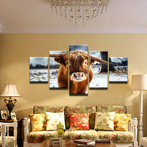 Highland Cow 5 Panel Canvas Print Wall Art