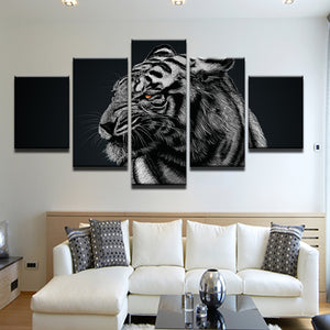White Tiger 5 Panel Canvas Print Wall Art