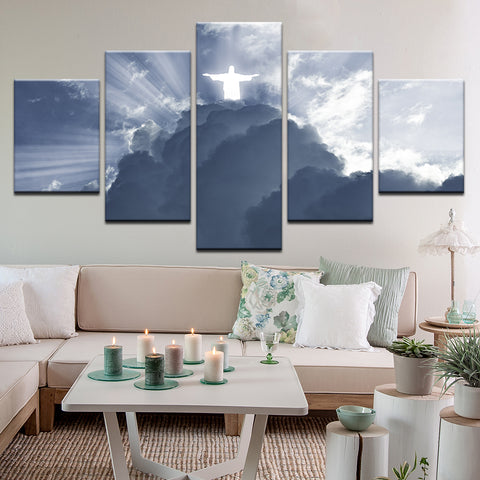 Jesus Christ In The Clouds 5 Panel Canvas Print Wall Art