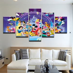 Disney Characters Mickey Minnie Princesses And More 5 Panel Canvas Print Wall Art