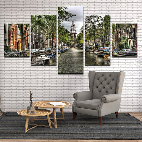 Groenburgwal Canal Amsterdam Netherlands 5 Panel Canvas Print Wall Art