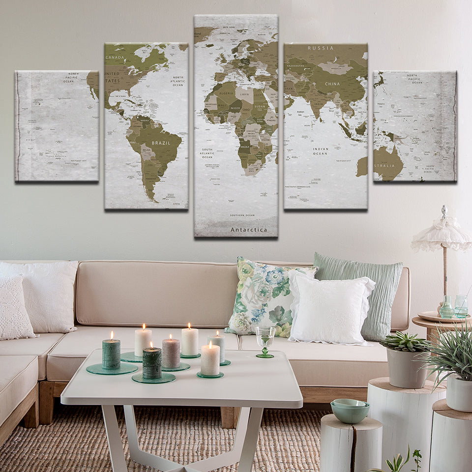 World Map In Green 5 Panel Canvas Print Wall Art