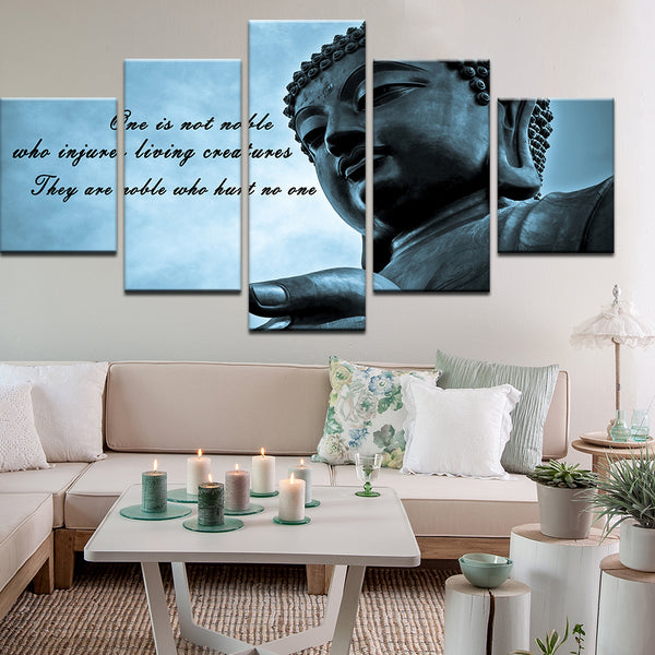 Buddha One Is Not Noble 5 Panel Canvas Print Wall Art