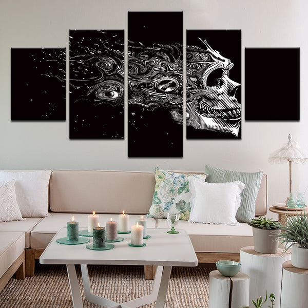 Space Skull Abstract 5 Panel Canvas Print Wall Art