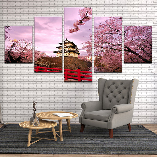 Japanese Pagoda With Spring Cherry Blossoms 5 Panel Canvas Print Wall Art