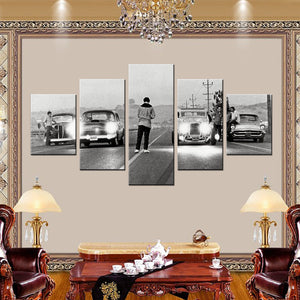 Vintage Classic Hot Rod Drag Race 5 Panel Canvas Print Wall Art