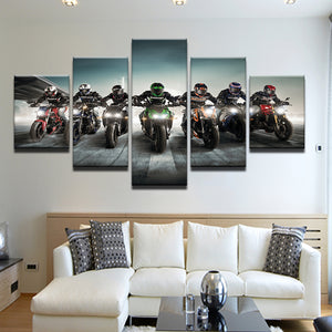 Sportbike Motorcycle Racing 5 Panel Canvas Print Wall Art
