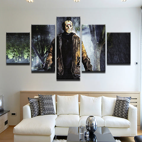 Friday The 13th Jason Vorhees 5 Panel Canvas Print Wall Art