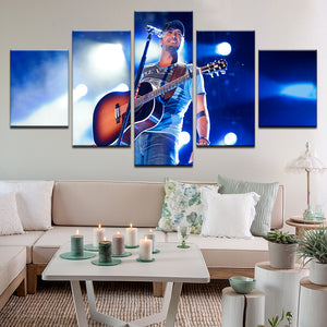 Luke Bryan In Concert 5 Panel Canvas Print Wall Art