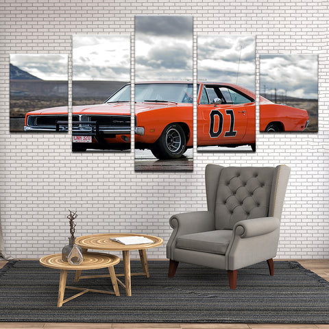 Dukes Of Hazzard General Lee 1969 Dodge Charger 5 Panel Canvas Print Wall Art
