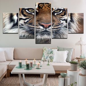 Tiger 5 Panel Canvas Print Wall Art