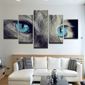 Blue Eyed Cat 5 Panel Canvas Print Wall Art