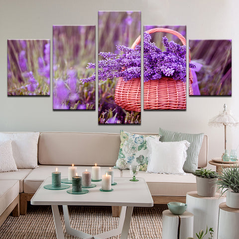 Lavender Basket 5 Panel Canvas Print Wall Art