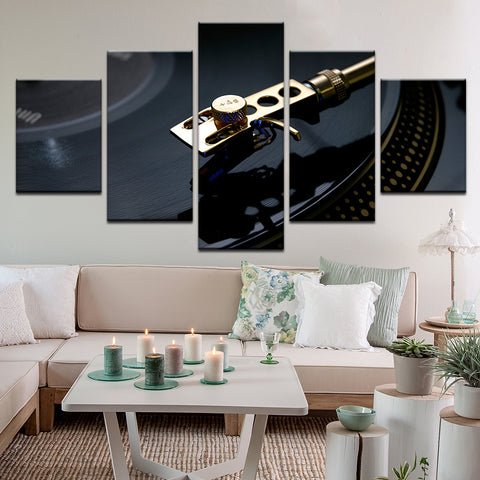 Record Player Turntable 5 Panel Canvas Print Wall Art