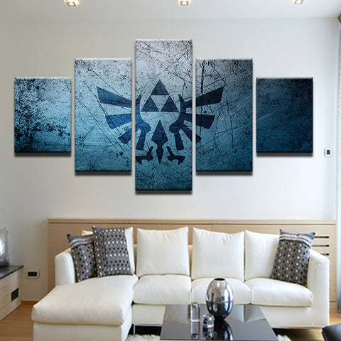 Zelda Triforce 5 Panel Canvas Print Wall Art