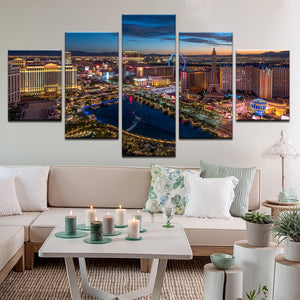 Las Vegas Strip At Twilight 5 Panel Canvas Print Wall Art