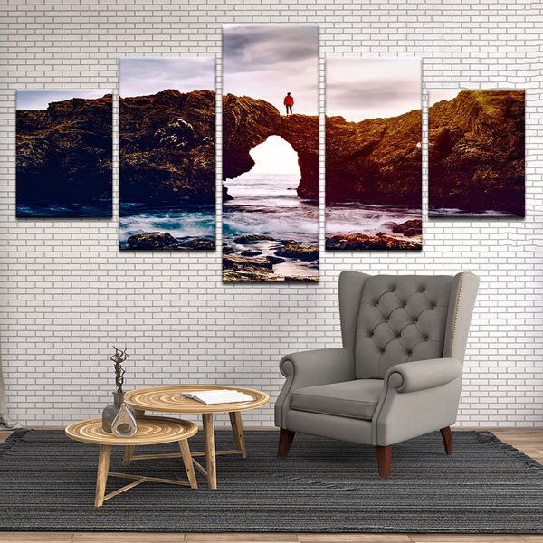 Rock Arch At The Beach 5 Panel Canvas Print Wall Art