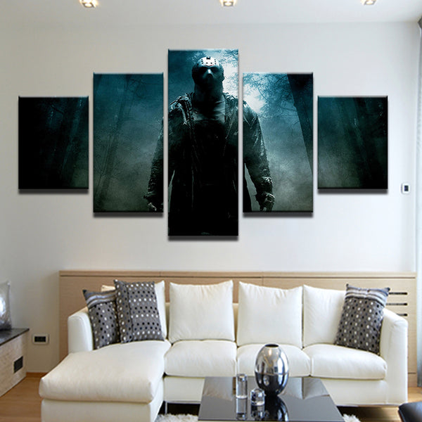 Friday The 13th Jason 5 Panel Canvas Print Wall Art