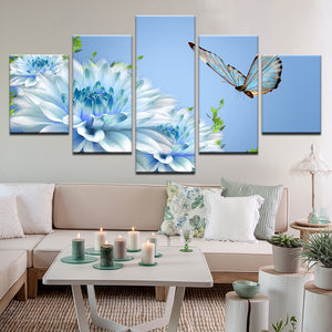 Glass Butterfly And Flowers 5 Panel Canvas Print Wall Art