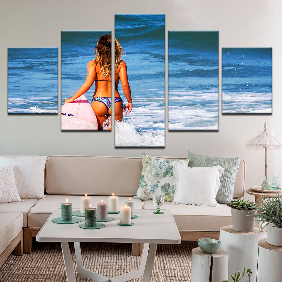 Surfer Girl Wading Out 5 Panel Canvas Print Wall Art
