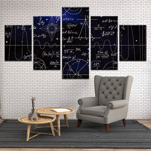 Galaxy Equations Physics Astronomy Astrophysics 5 Panel Canvas Print Wall Art