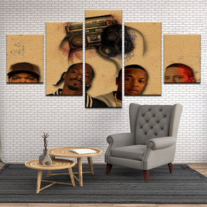 Rap Hip Hop Ice Cube Snoop Dogg Dr. Dre Eminem 5 Panel Canvas Print Wall Art
