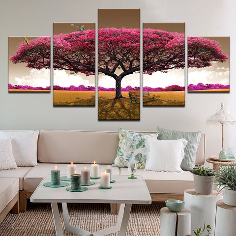 Pink Tree With Butterflies Composite Image 5 Panel Canvas Print Wall Art