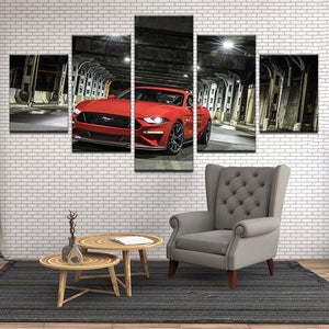 Red Ford Mustang 5 Panel Canvas Print Wall Art