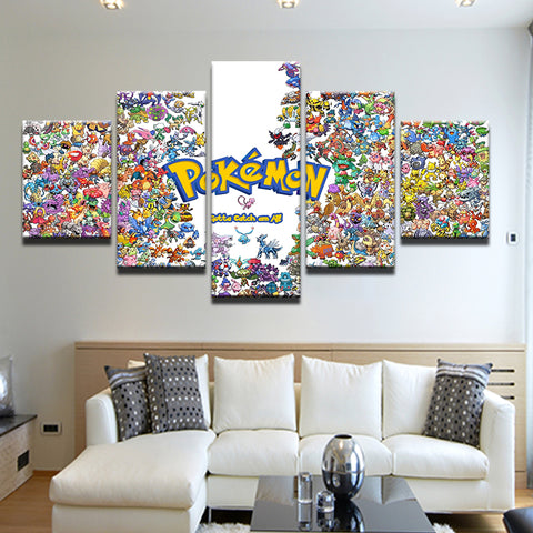 Pokemon Gotta Catch Em All 5 Panel Canvas Print Wall Art
