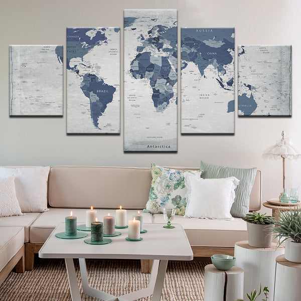 World Map In Blue 5 Panel Canvas Print Wall Art