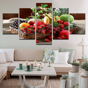 Fruit Basket 5 Panel Canvas Print Wall Art