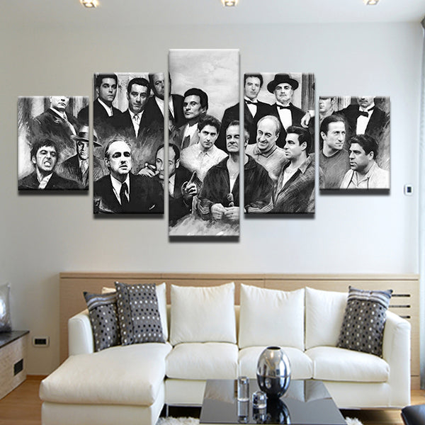 Movie Mafia Hall Of Fame Mob 5 Panel Canvas Print Wall Art