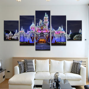 Sleeping Beauty Castle Disneyland Christmas Lights 5 Panel Canvas Print Wall Art